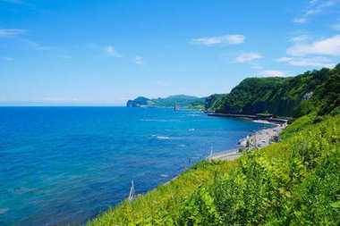 Beautiful background scenic seaside road with blue sky sunny day  the way to Otaru, Hokkaido Japan