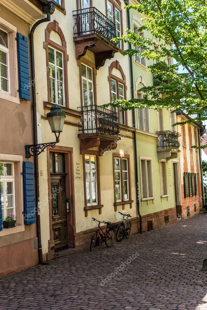 FREIBURG IM BREISGAU, GERMANY - May 17, 2017: old town street in Freiburg, a city in the south-western part of Germany in the Baden-Wurttemberg state.