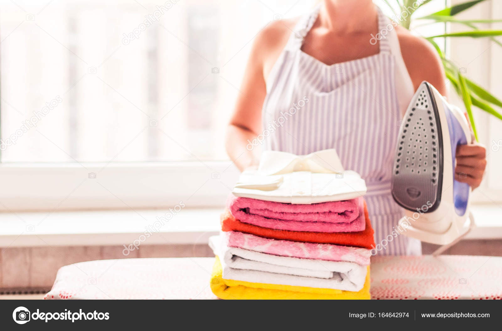 Ironing Clothes On Ironing Board, Ironed Clothes Ironing, Laundry, Clothes,  Housekeeping And