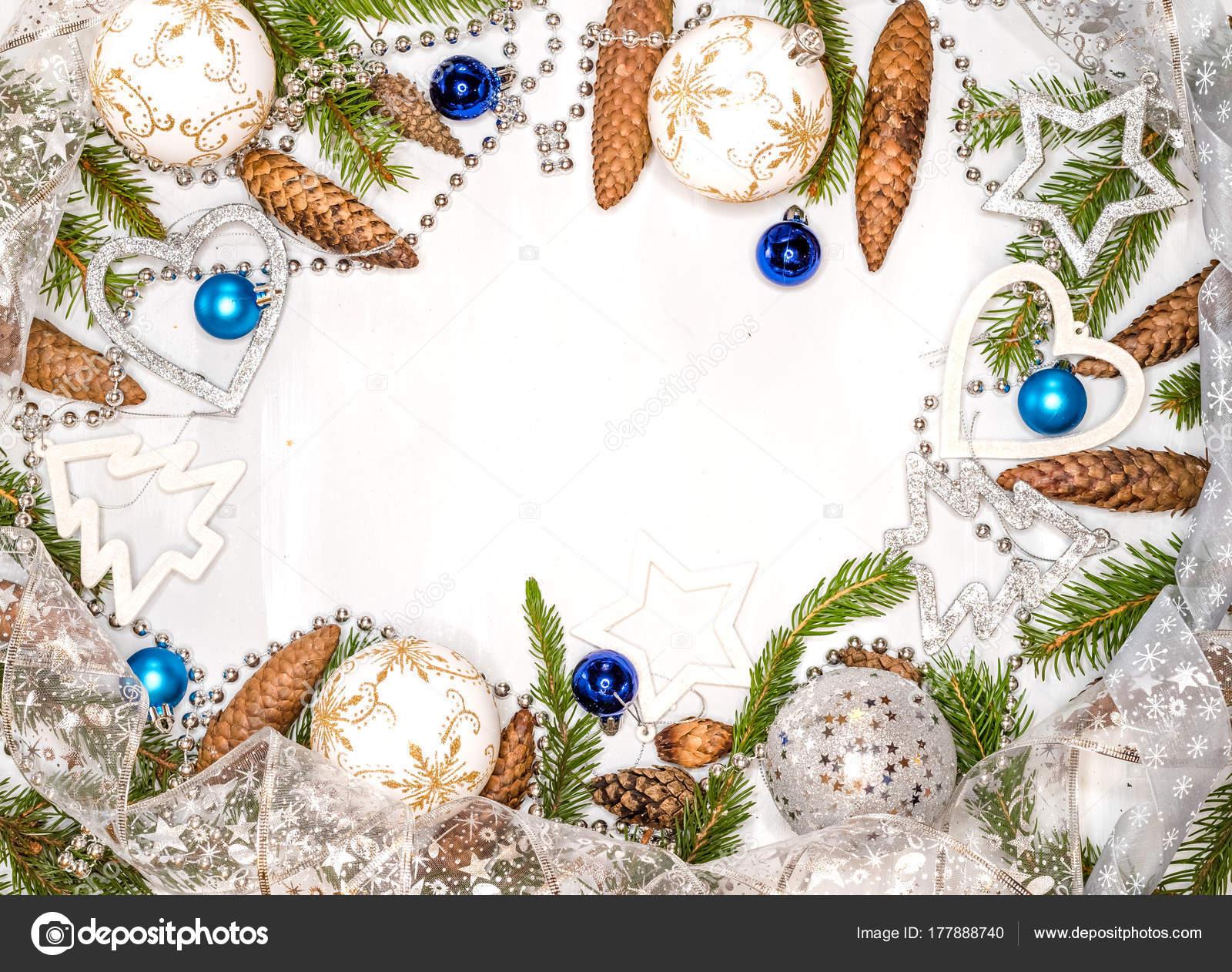 Weihnachtskarte Mit Christbaumschmuck Weihnachtskugeln Sterne