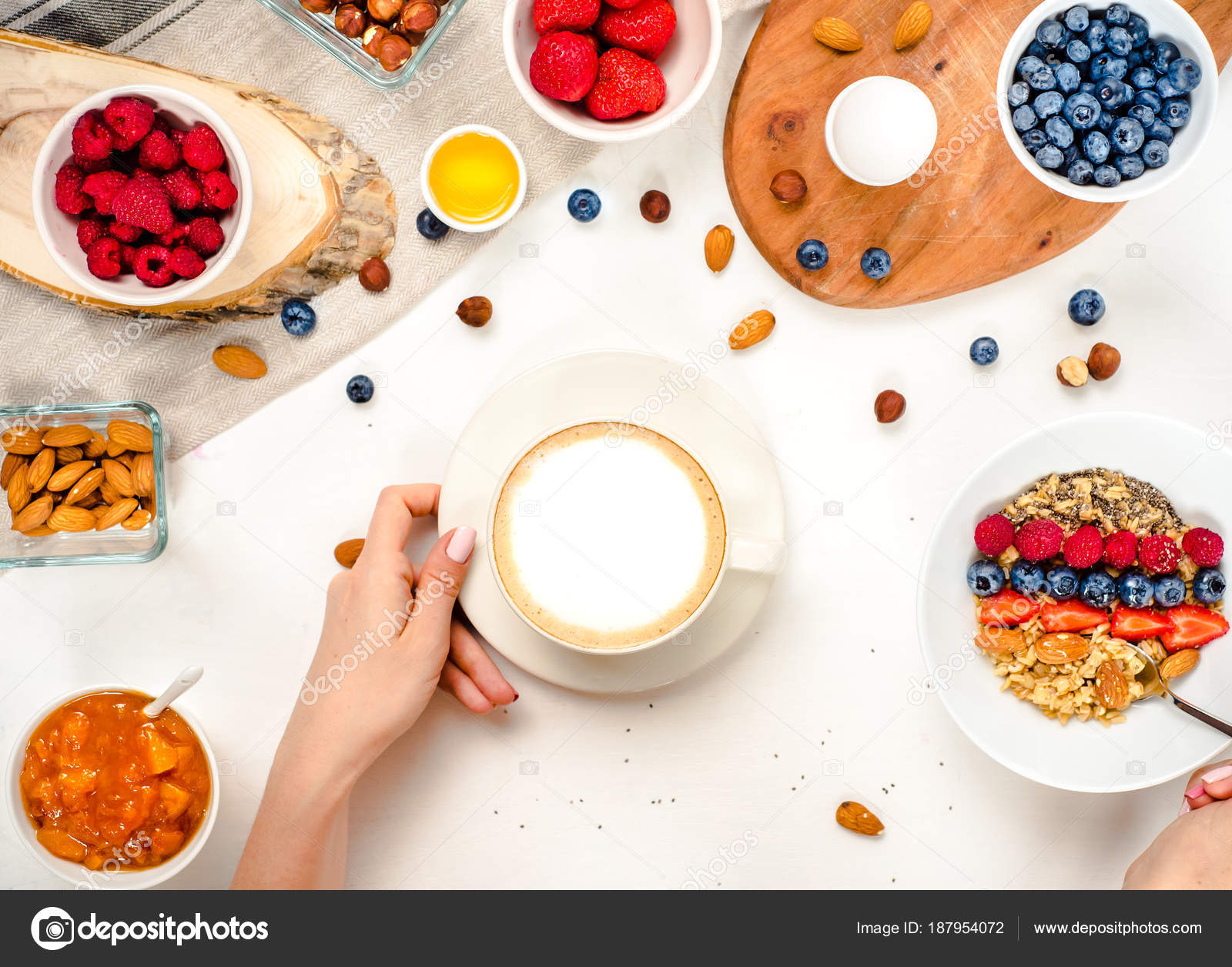 Good Morning Healthy Breakfast Background With Oatmeal Coffee