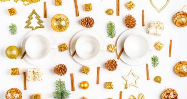 cup on a christmas holiday table. holidays and events consept. Flat lay, Top view