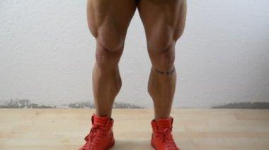 Vertical pan on muscular bodybuilder in studio