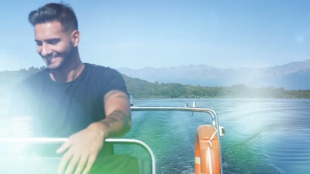 Alluring tattooed man in boat