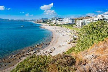Beach with hotels in Faliraki, Kallithea (Rhodes, Greece)