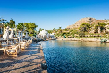 View of Kalithea bay with white Dome (Rhodes, Greece)