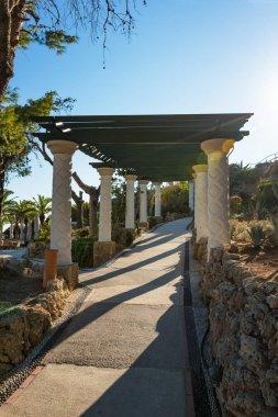 Walk under pergola in gardens of Kalithea (Rhodes, Greece)