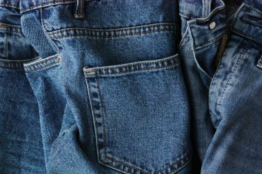 Beautiful blue jeans with pockets close up