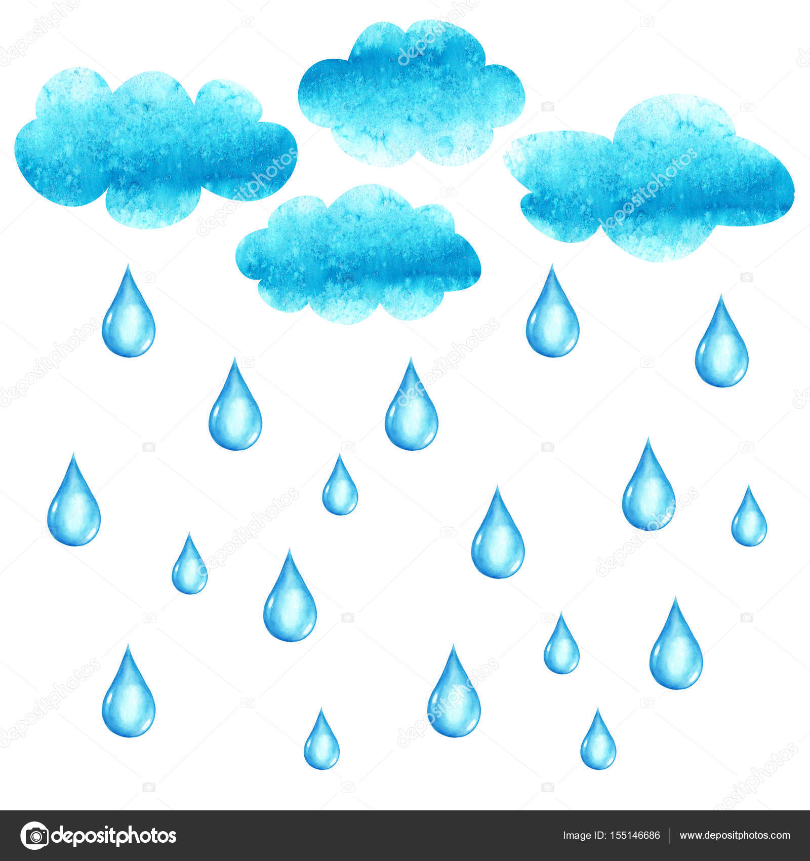 かかって雨の滴で水彩イラスト ストック写真 Olgaze 155146686