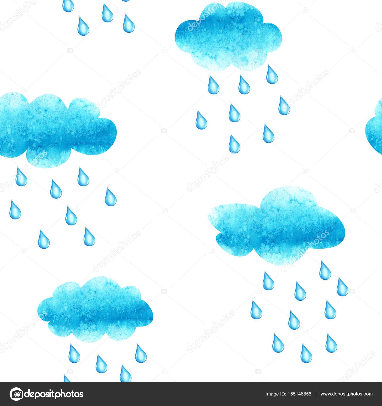 Cluods Ve Yağmur Damla Ile Sulu Boya Dikişsiz Desen Stok Foto