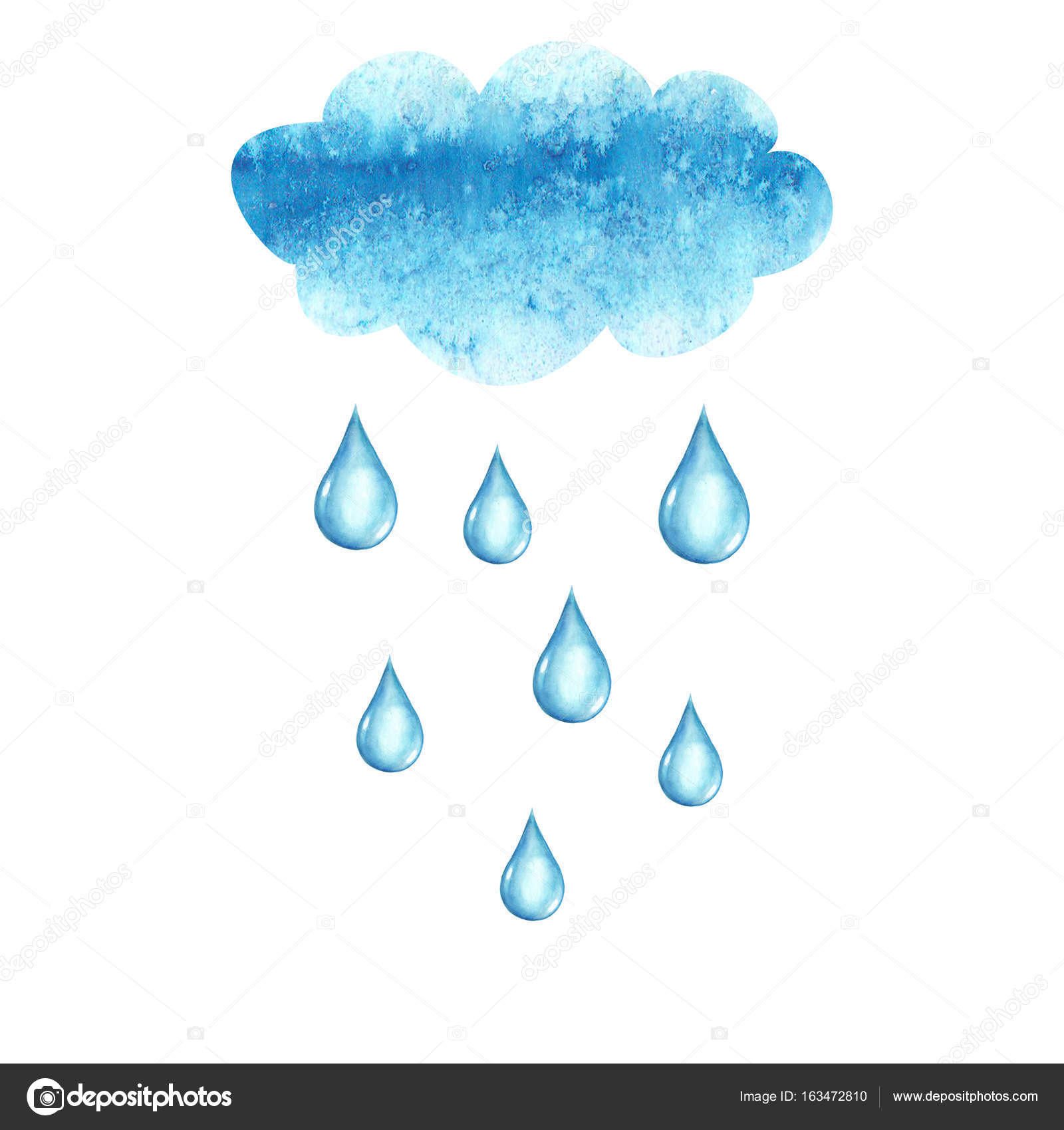 Watercolor Cloud And Rain Drops Stock Vector C Olgaze 163472810