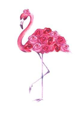 Tropical exotic bird pink flamingo