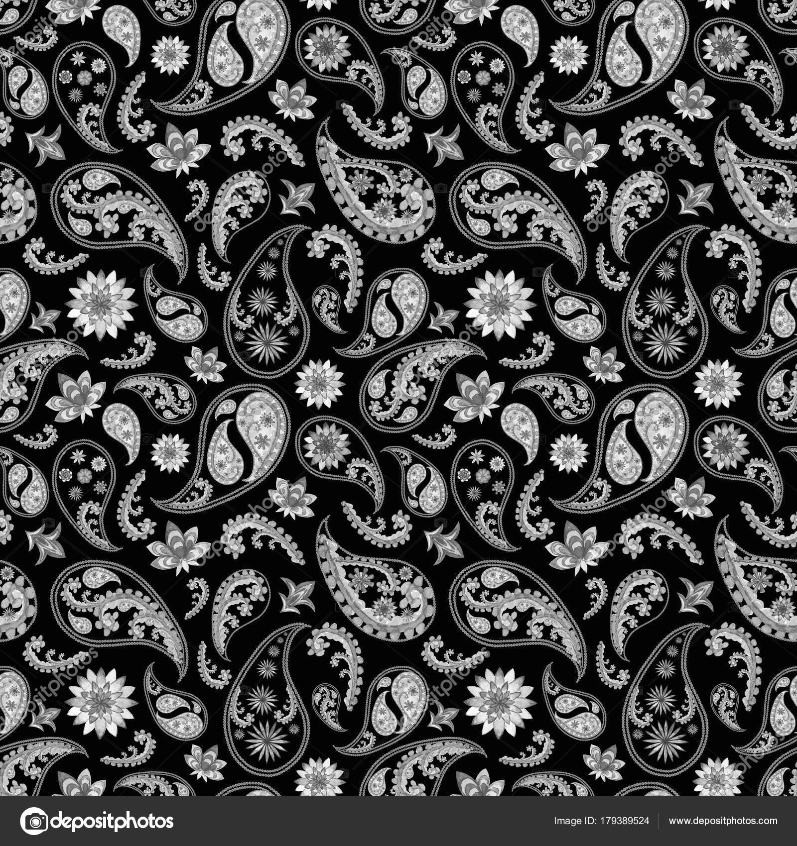 Black And White Paisley Pattern Stock Photo Olgaze 179389524