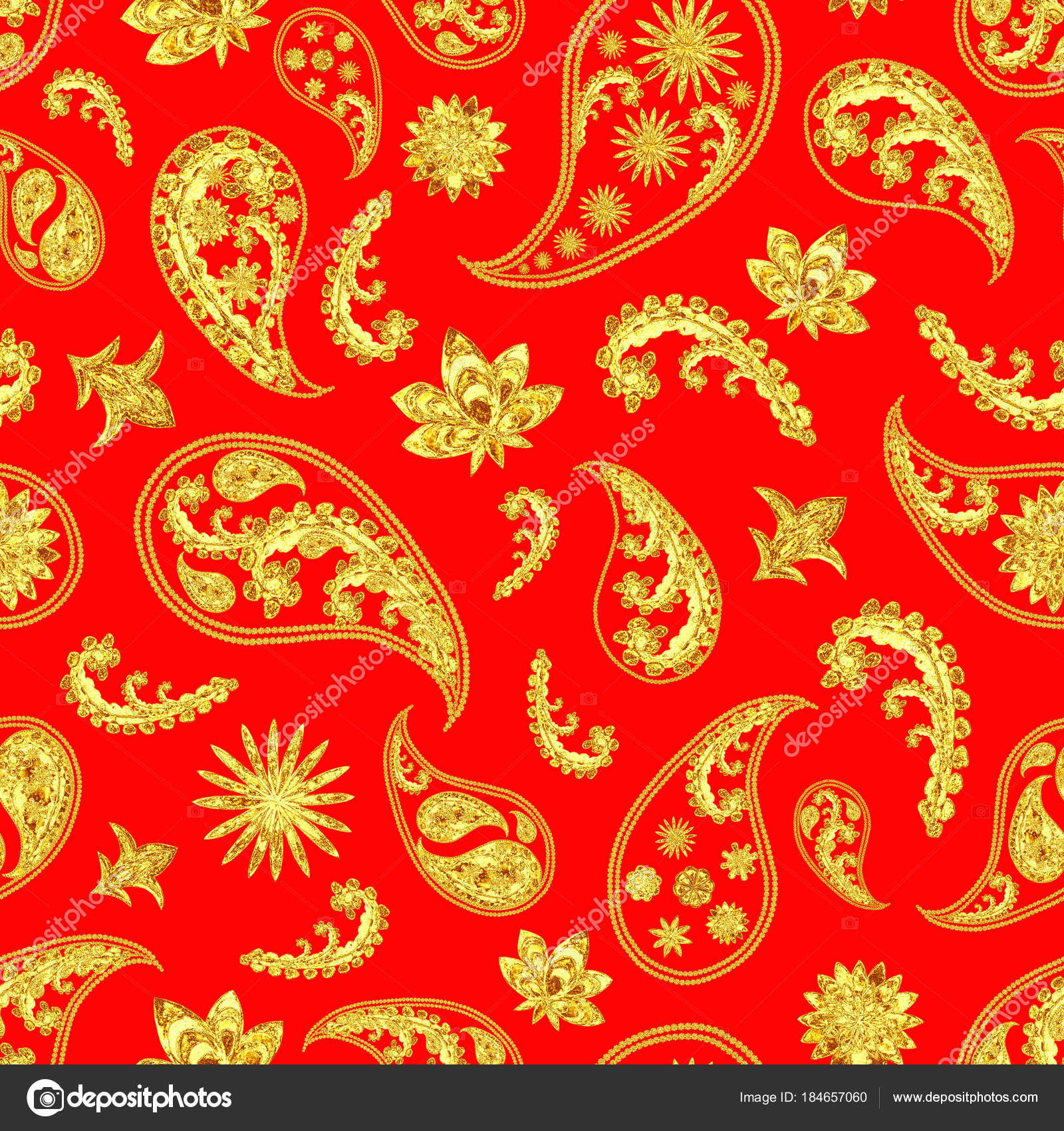 Paisley gold red seamless pattern. Hand drawn golden traditional asian  ethnic oriental arabic indian floral paisley batik elements ornament.