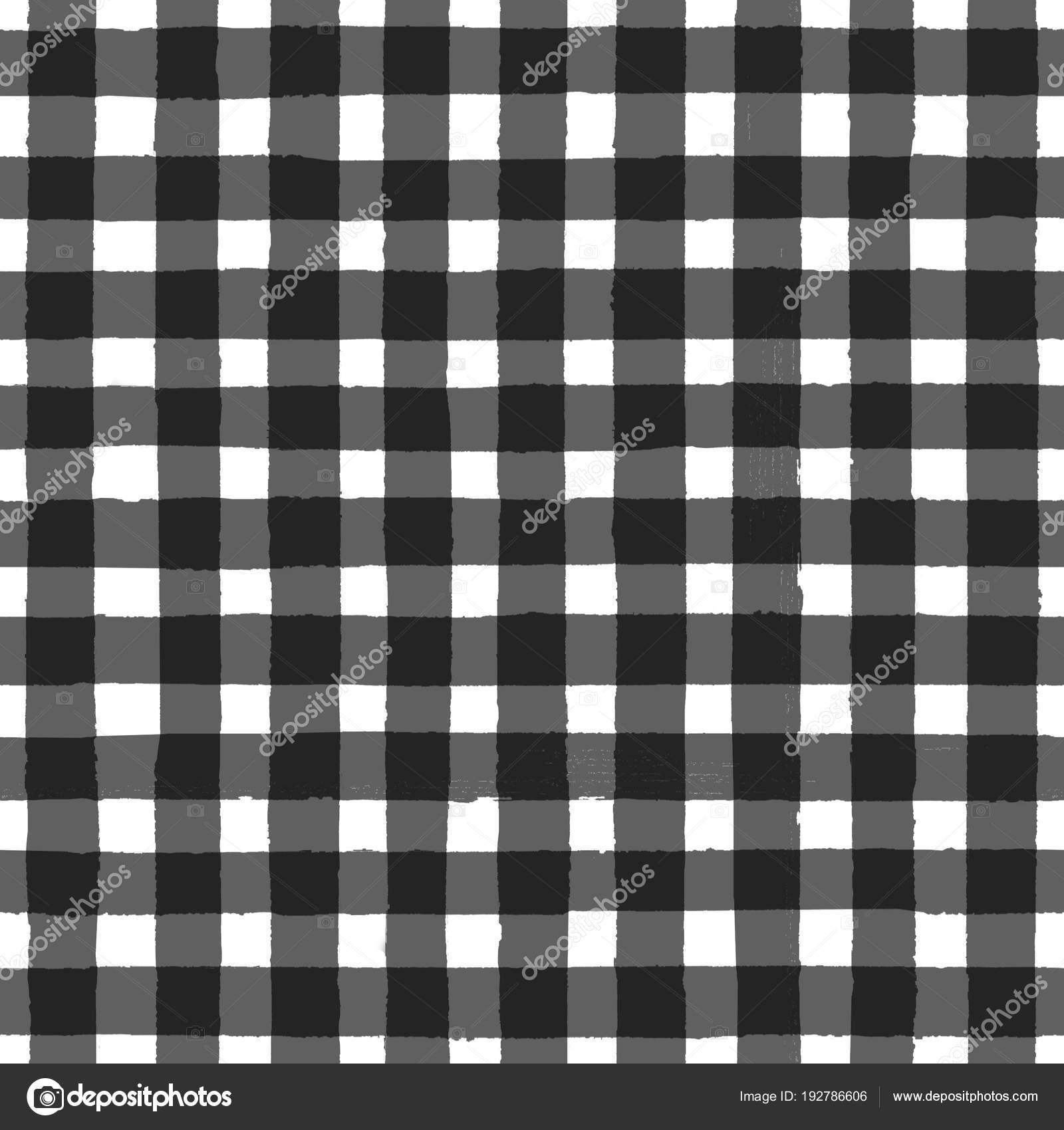 Vintage Black And White Checkered Seamless Pattern Stock Photo