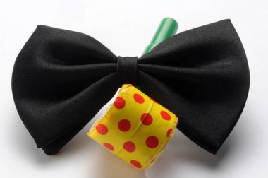 Black bow tie with carnival trumpet