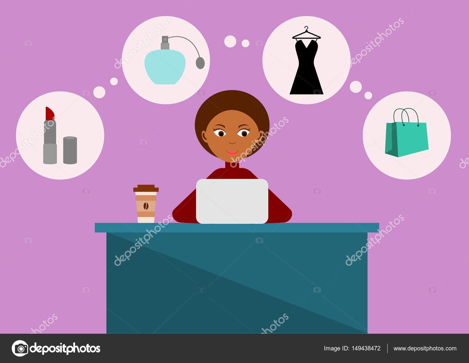 dc0760964 mulher compras on-line — Vetores de Stock © Tacka  149438472
