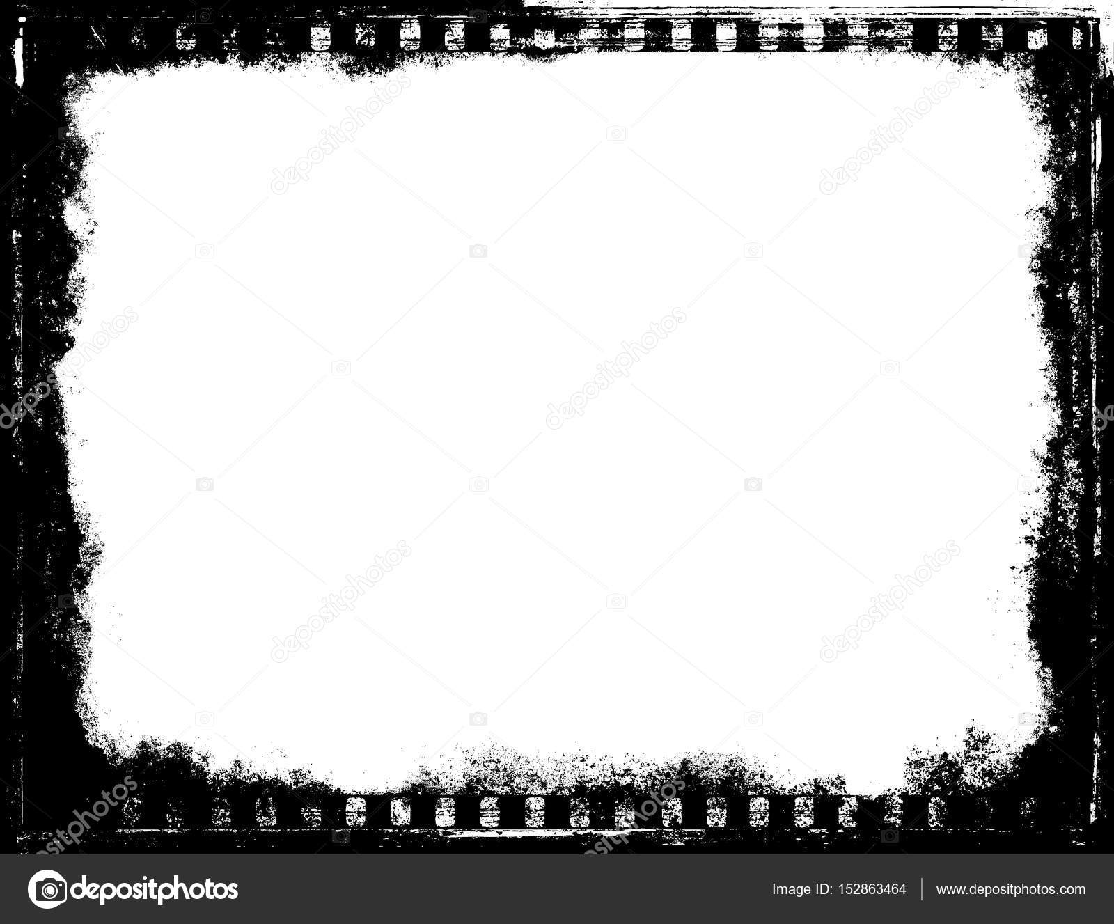 template frame black and white film tape rustic texture retro