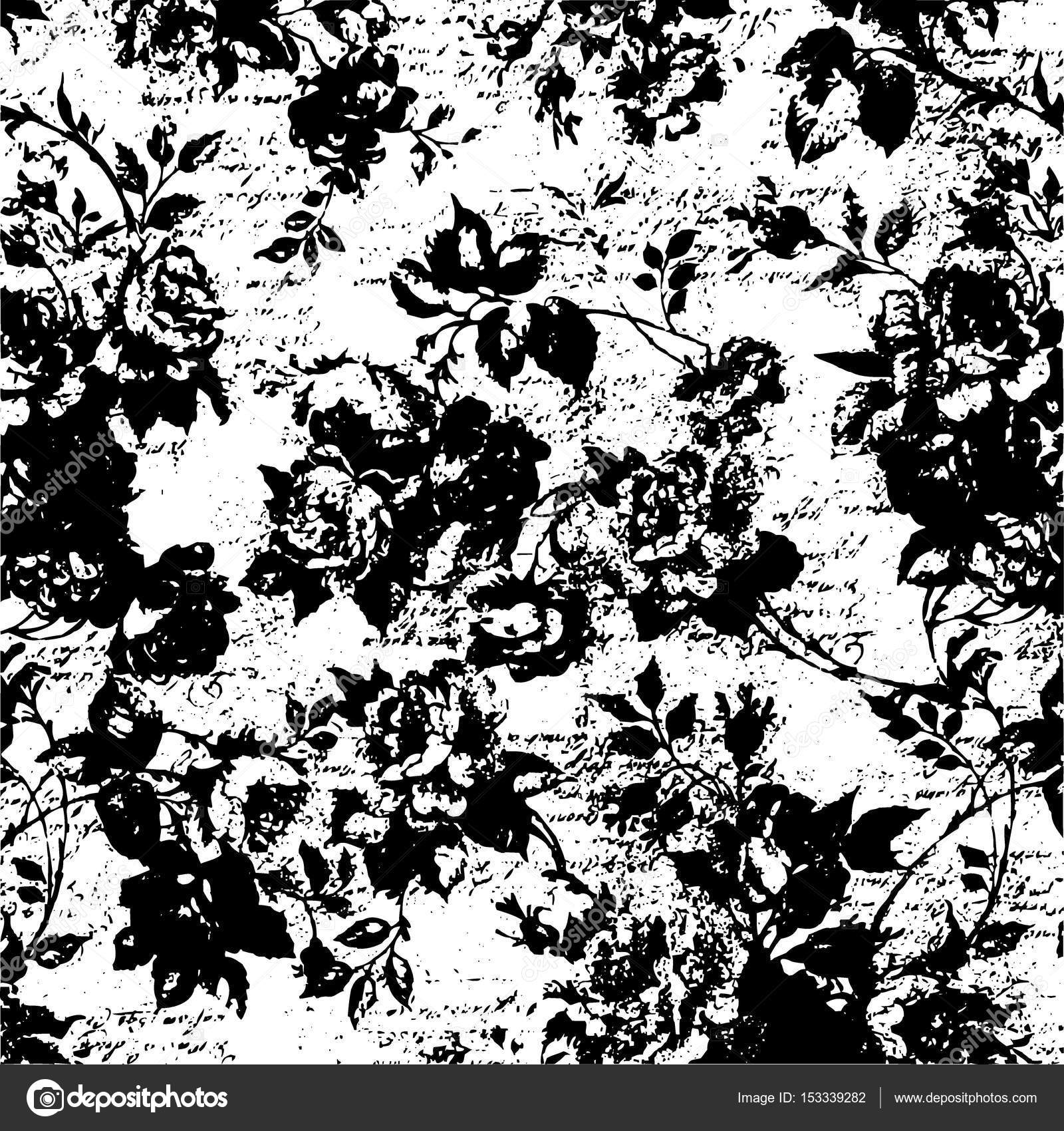 Old rose wallpaper vintage template shabby retro wall background black white illustrated texture