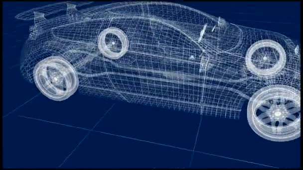 Transparent car design, wire model.3D animation . My own car design.