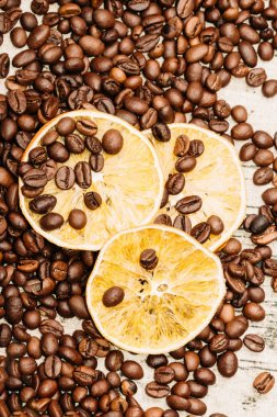 Dry Lemon Slices among coffee beans