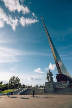 The Soviet monument to the scientist Tsiolkovsky at VDNH. Moscow