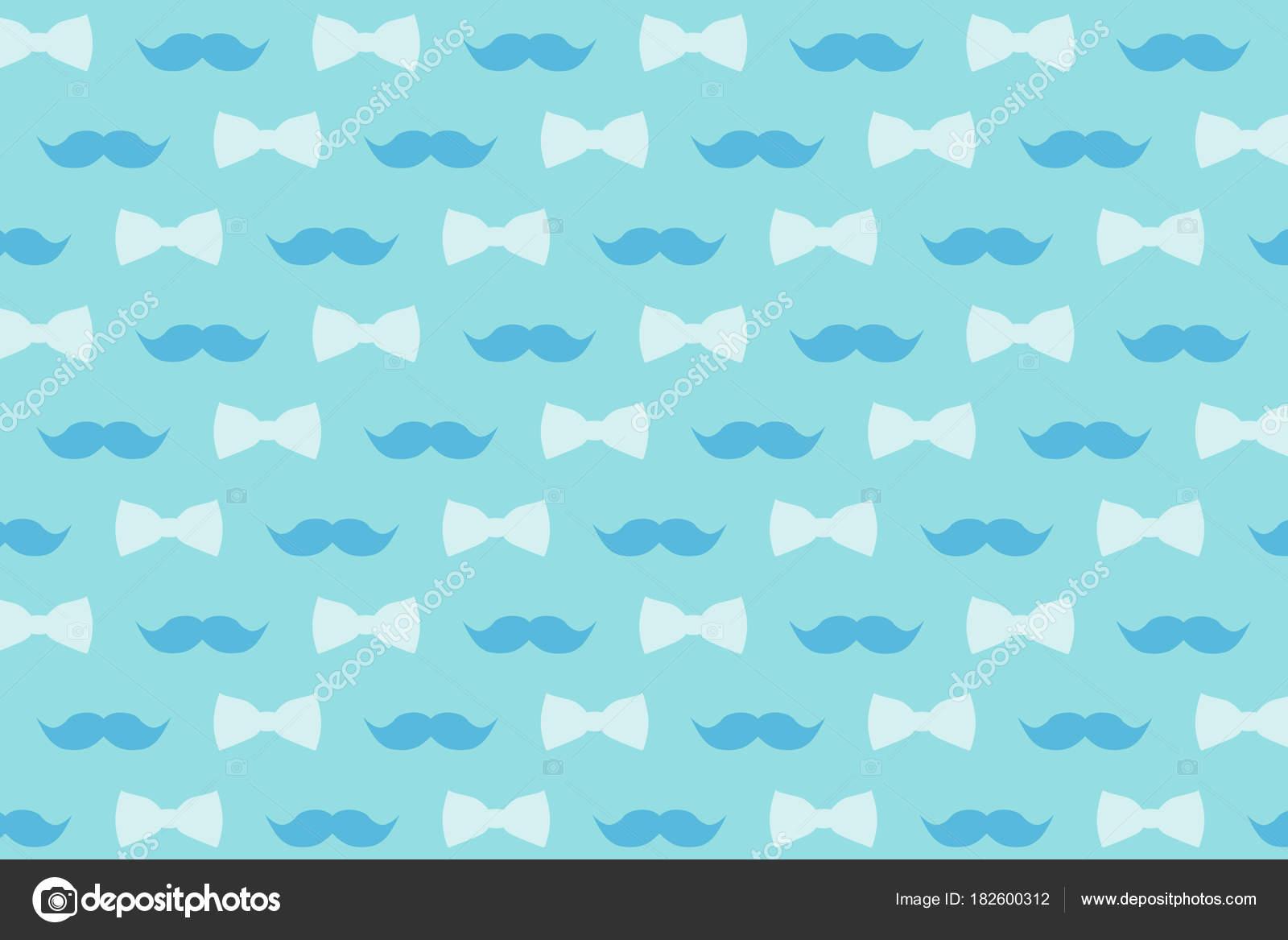 Mustache Bow Tie Gently Blue Tones Design Wallpaper Decor Stock Photo