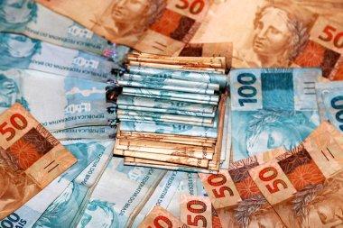 Bundle with Brazilian money notes
