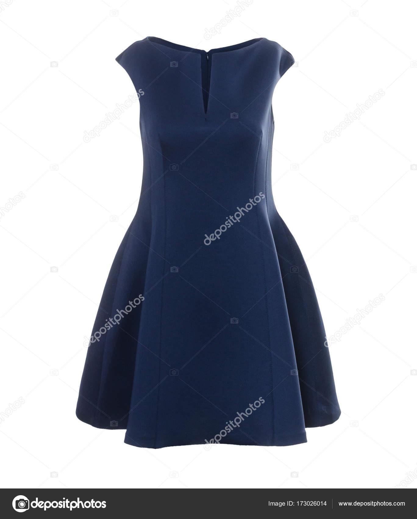 Elegante Hermoso Vestido Azul Oscuro Sobre Fondo Blanco