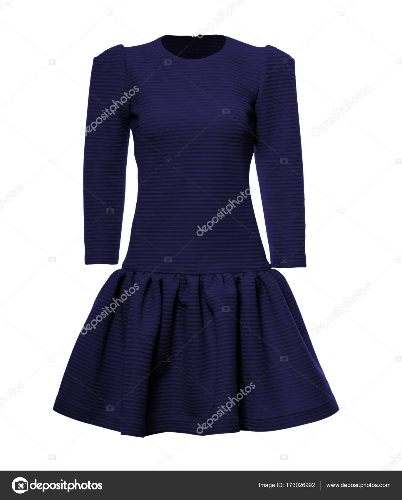 Elegante Hermoso Vestido Azul Oscuro Sobre Fondo Blanco Con
