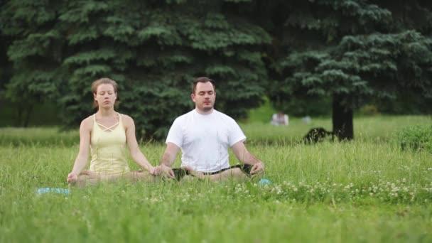 Muž a žena meditovat v blaženosti. Mladí instruktoři jógy v městském parku na zelené trávě. Mladí a úspěšní lidé provádět Akro jóga cvičení.