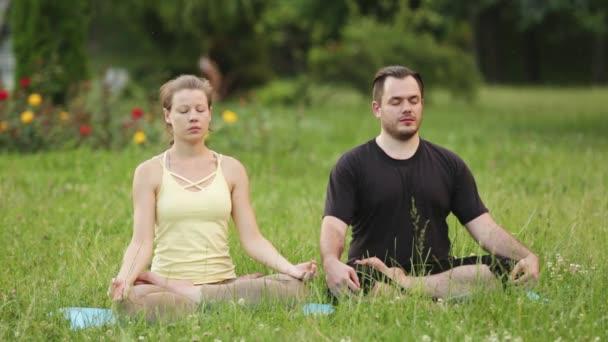 Egy férfi és egy nő meditálni boldogság. Fiatal oktatók jóga a Városligetben, a zöld fű. Sikeres fiatalok végre acro jóga gyakorlatok.