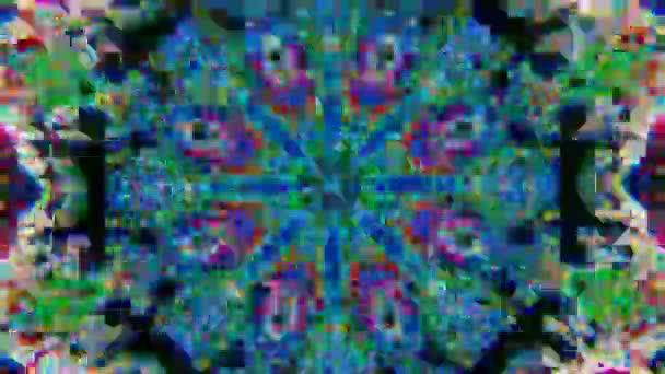 Pszichedelikus kerek kaleidoszkóp, többszínű részecskék meditációs műsorokhoz.
