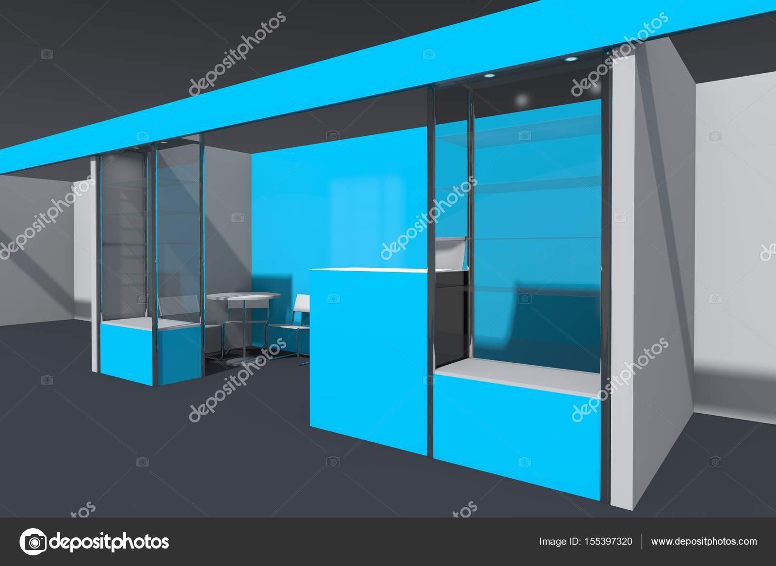 Exhibition Stand Reception Desk : D visualization of the exhibition stand with showcases