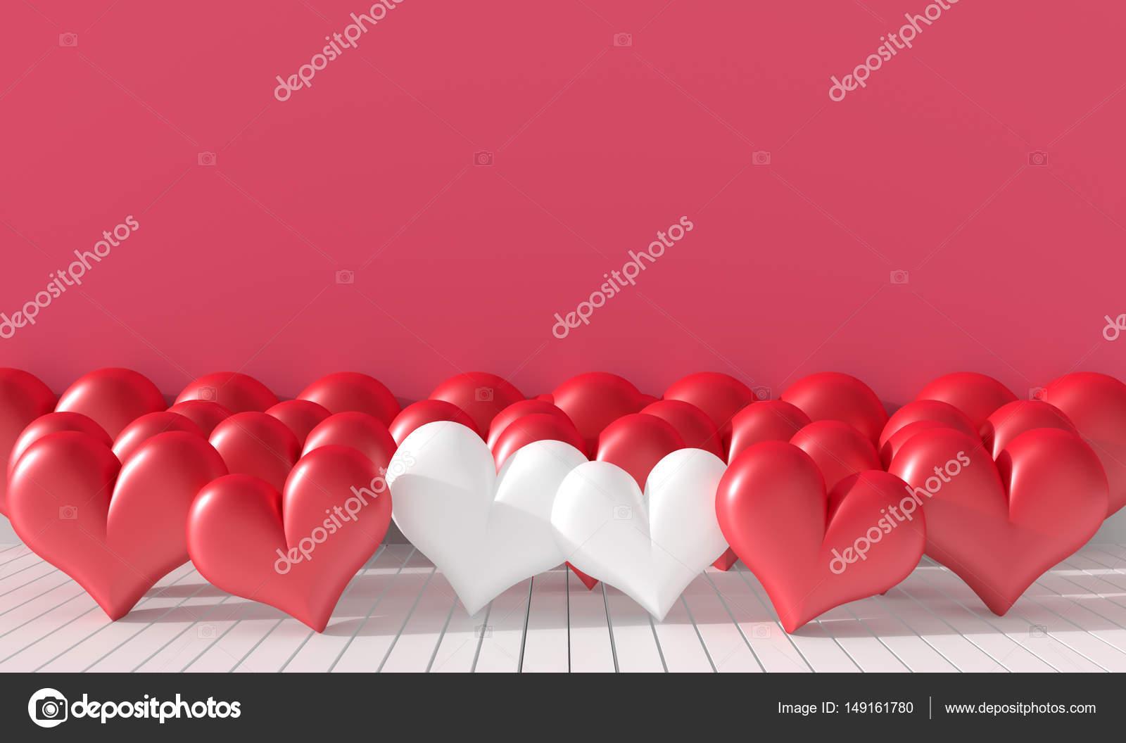 Zwei Weiße Und Viele Rote Herz Im Raum. Die Wände Sind Mit Rosa Leuchtenden  Farben Dekoriert. Zimmer Der Liebe Am Valentinstag. Hintergrund Und  Interieur.