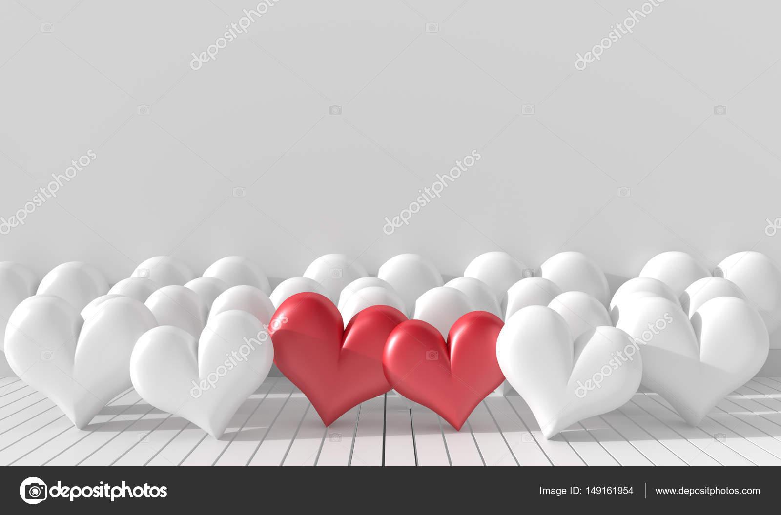 Zwei Rote Herzen Und Vielen Weißen Herzen Im Zimmer. Die Wände Sind Mit  Weißen Hellen Farben Dekoriert. Zimmer Der Liebe Am Valentinstag.