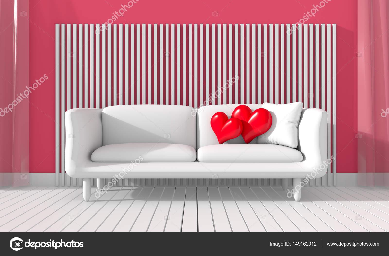 El salón está equipado con el color de los muebles del amor. Muestra ...
