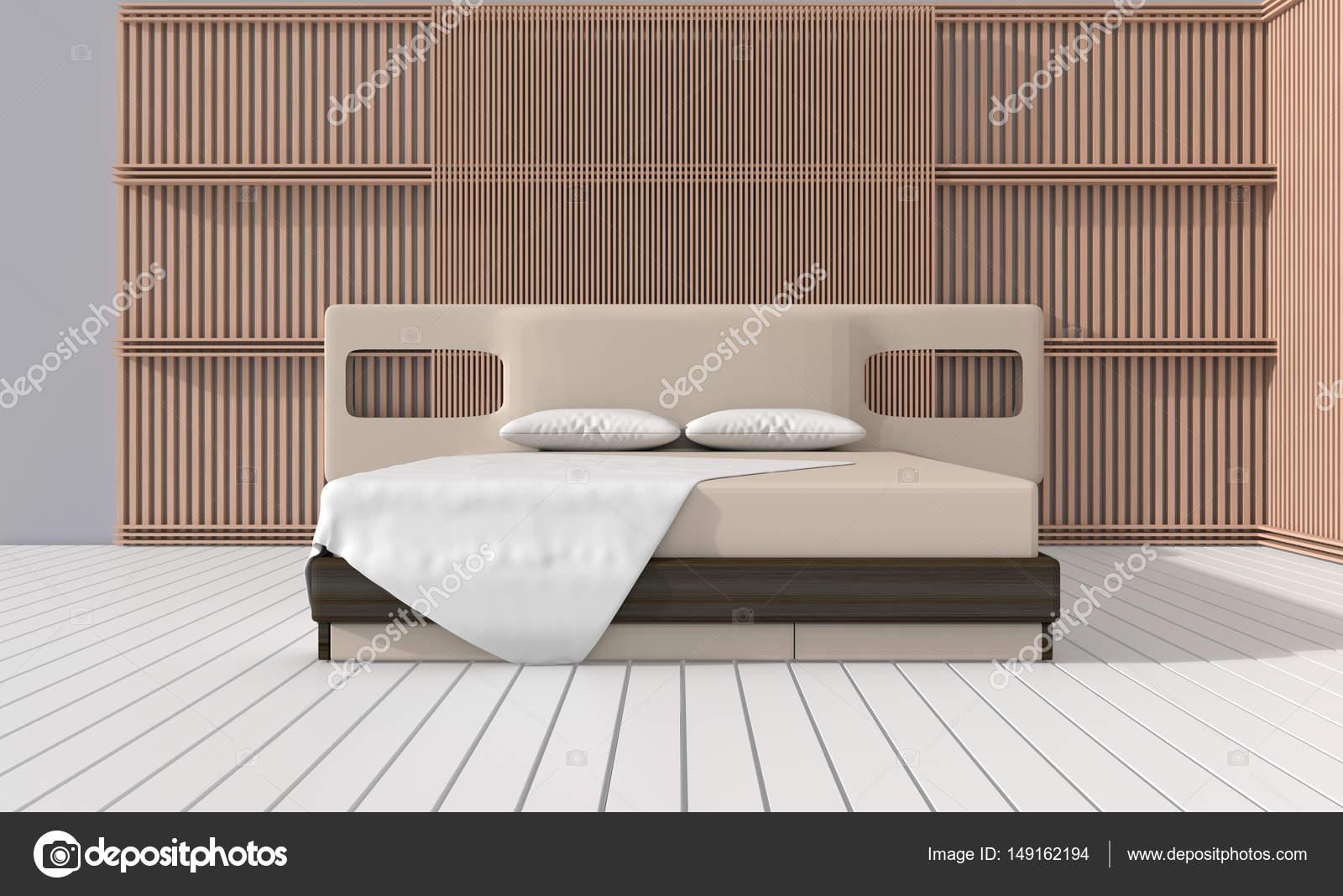 Schlafzimmer In Warmen Hellen Farben. Dekorieren Sie Mit Lamelle Wand,  Weißen Holzboden, Kissen Und Decke. Großes Bequemes Bett Im Klassischen  Schlafzimmer.