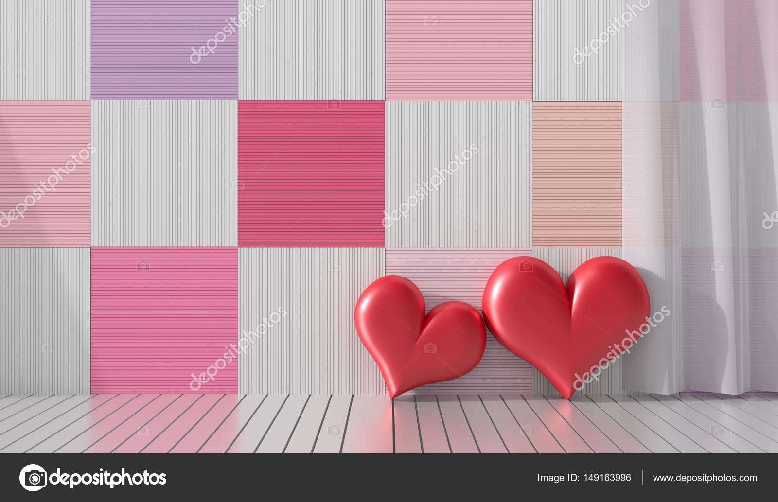 Zwei Rote Herzen In Den Raum. Die Hölzernen Wände Zieren Mit Hellen Farben  Und Vielfalt. Zimmer Der Liebe Am Valentinstag. Hintergrund Und Interieur.