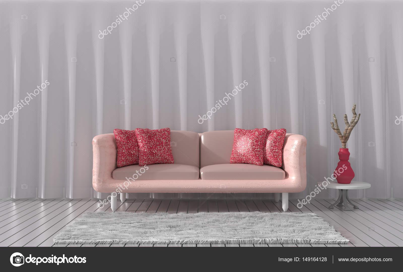 De woonkamer is ingericht met meubilair van kleur van de liefde ...