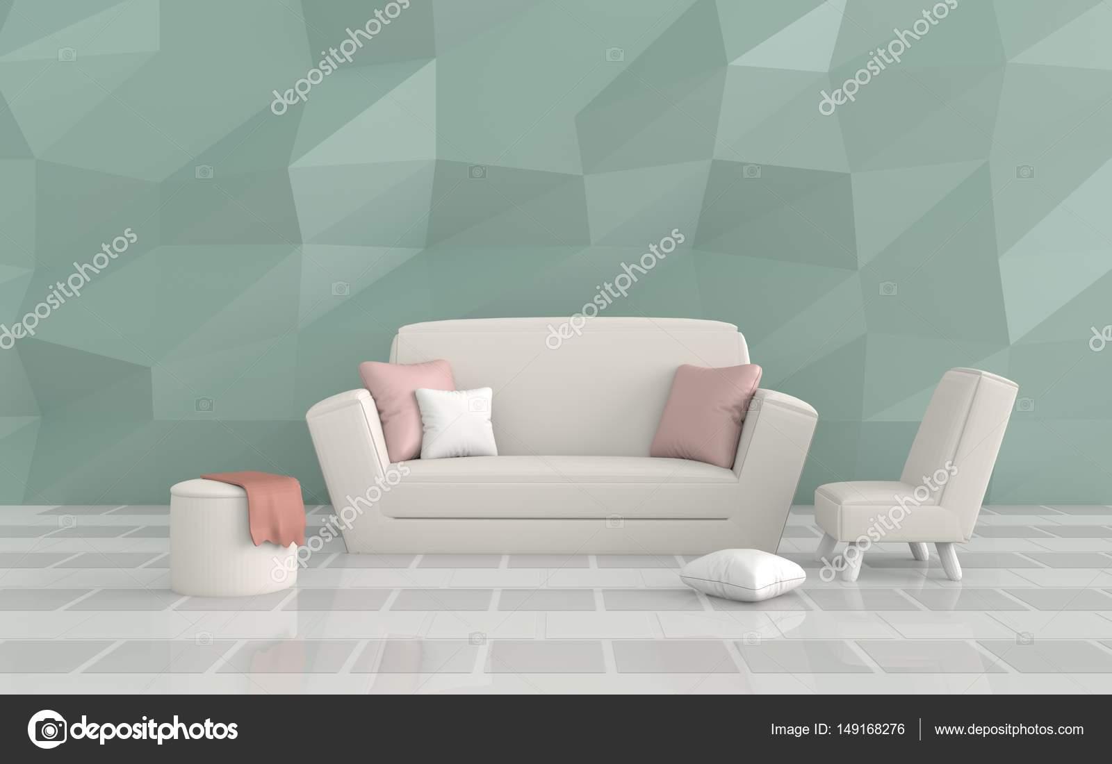 De woonkamer is ingericht kussens sofa stoel groene cement