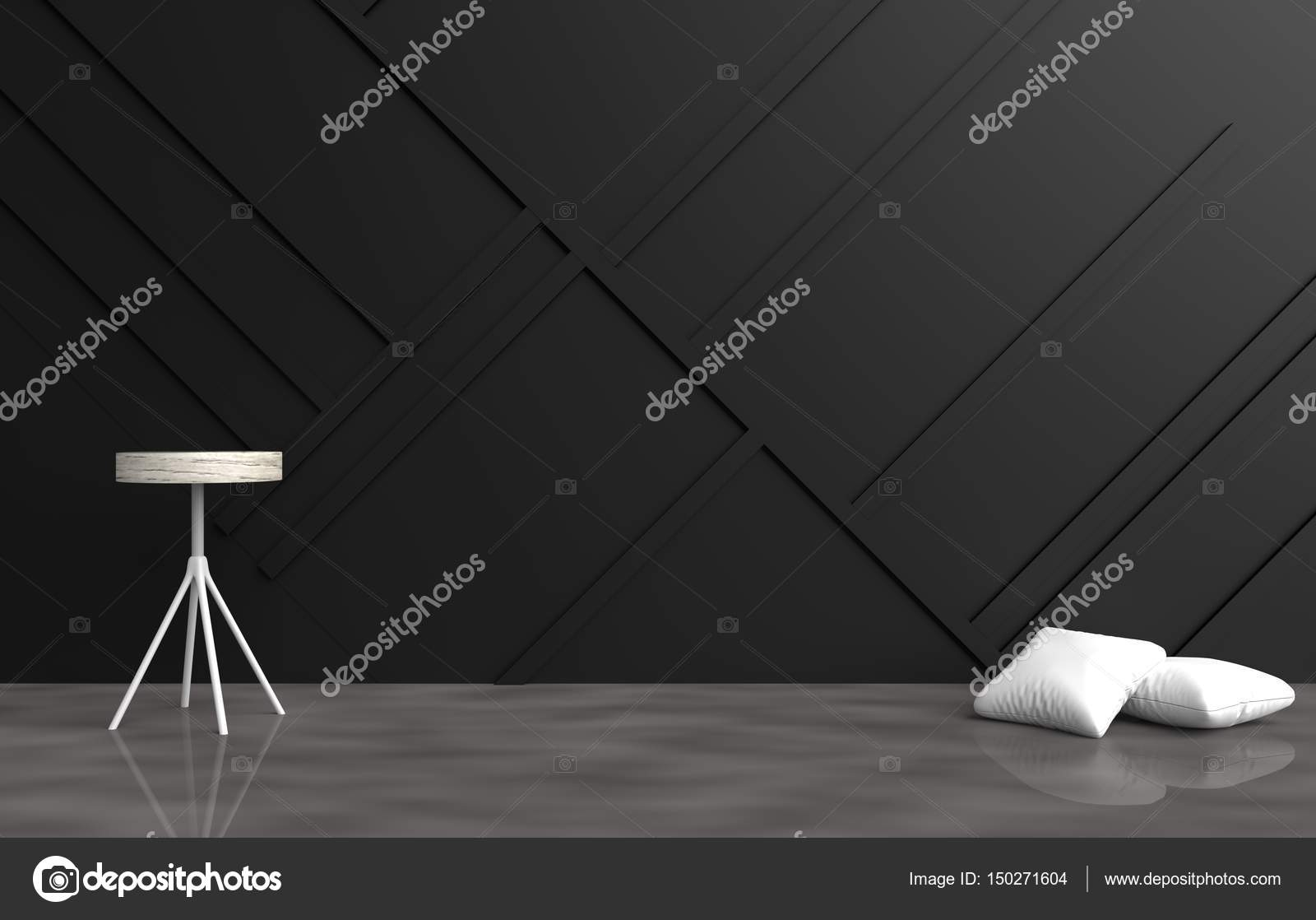 Grey Empty Room Decorated With White Pillows Chair Black Wood Wall It Is