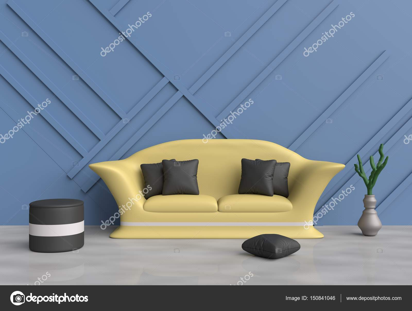 Blue living room are decorated with yellow sofa black pillows