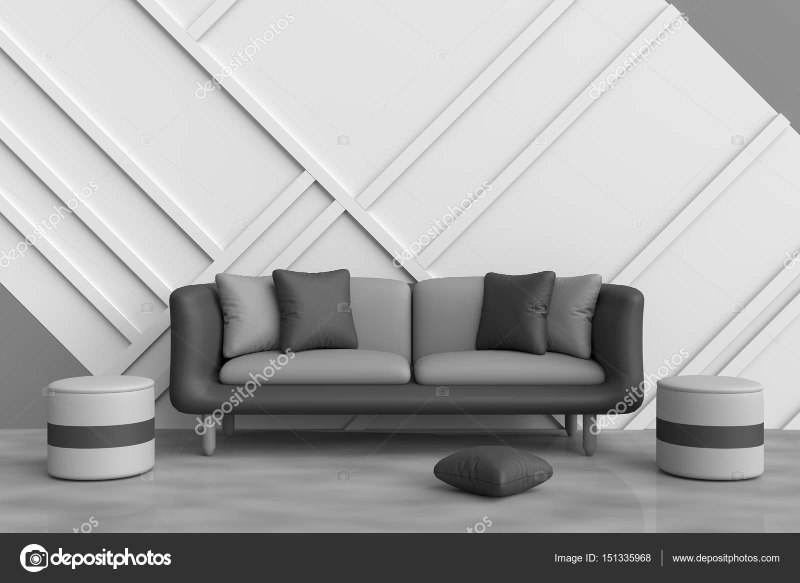 Sala de estar gris están decoradas con sofá negro, negro y gris ...