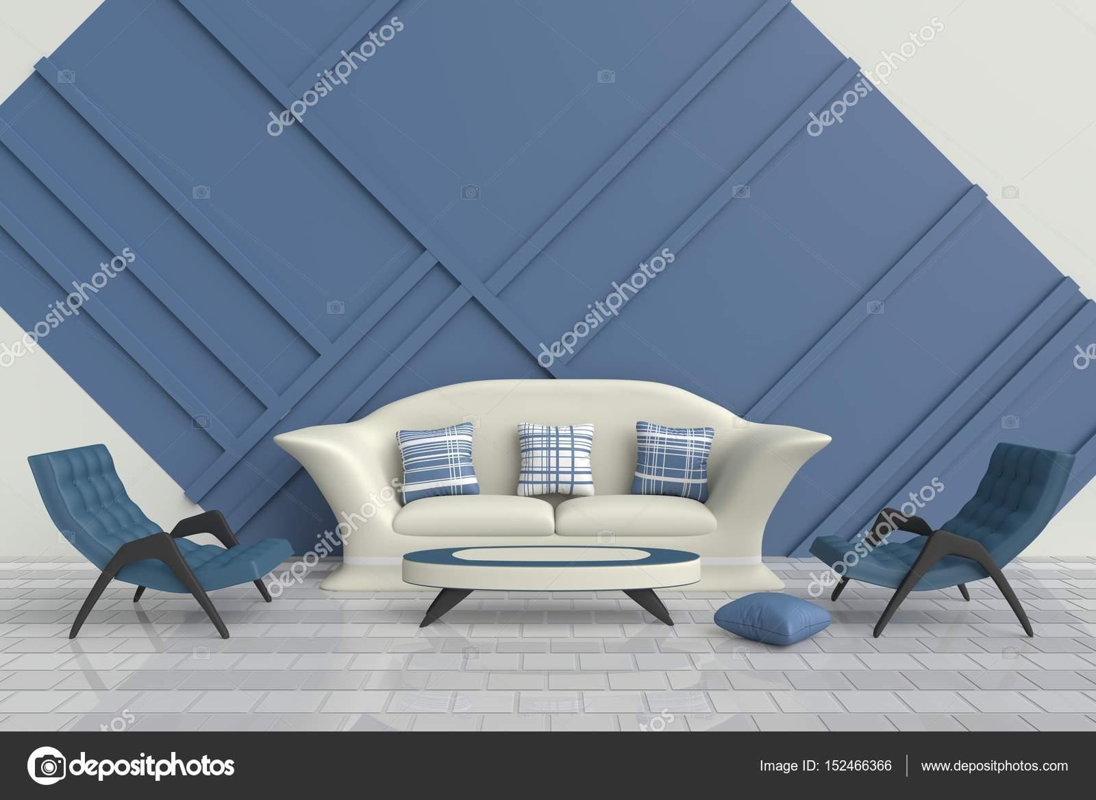 Blaue Und Weiße Wohnzimmer Sind Mit Weißen Boden Gefliest, Grüne Sessel,  Creme Sofa, Blauen Und Weißen Kissen Dekoriert. Dieses Zimmer Für Familien  Oder ...