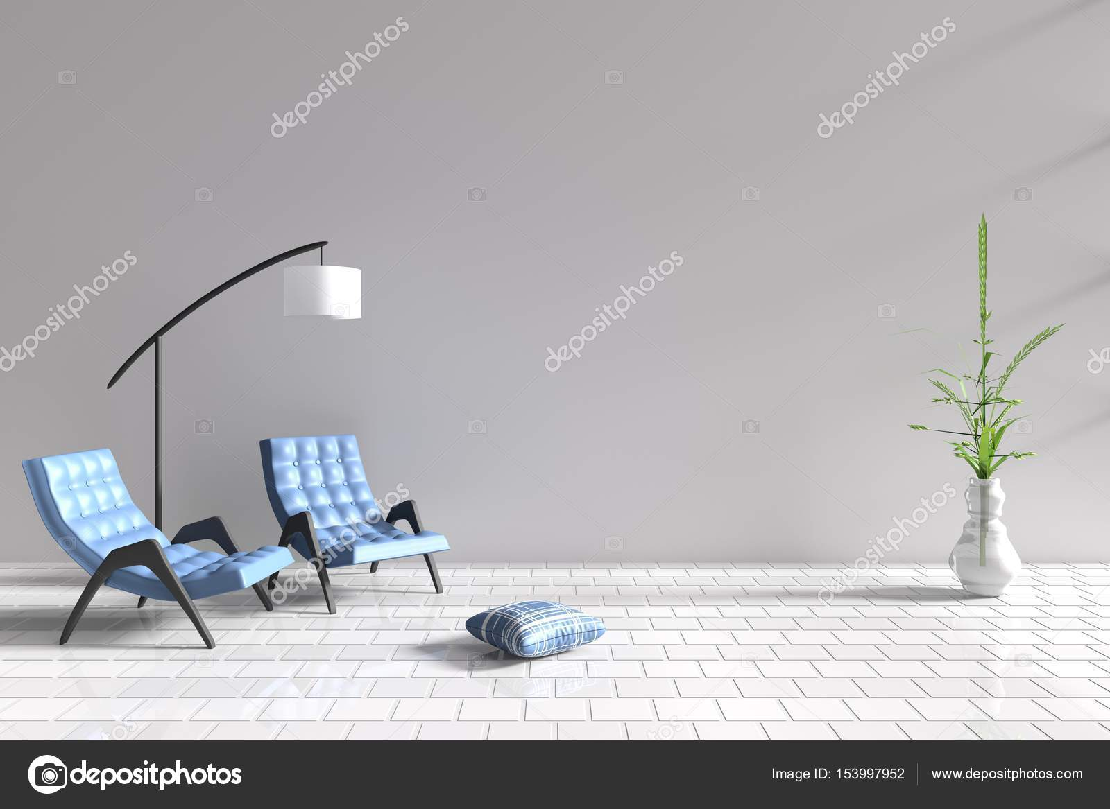 Living room in relax day. Decor with two blue armchair, blue-white ...