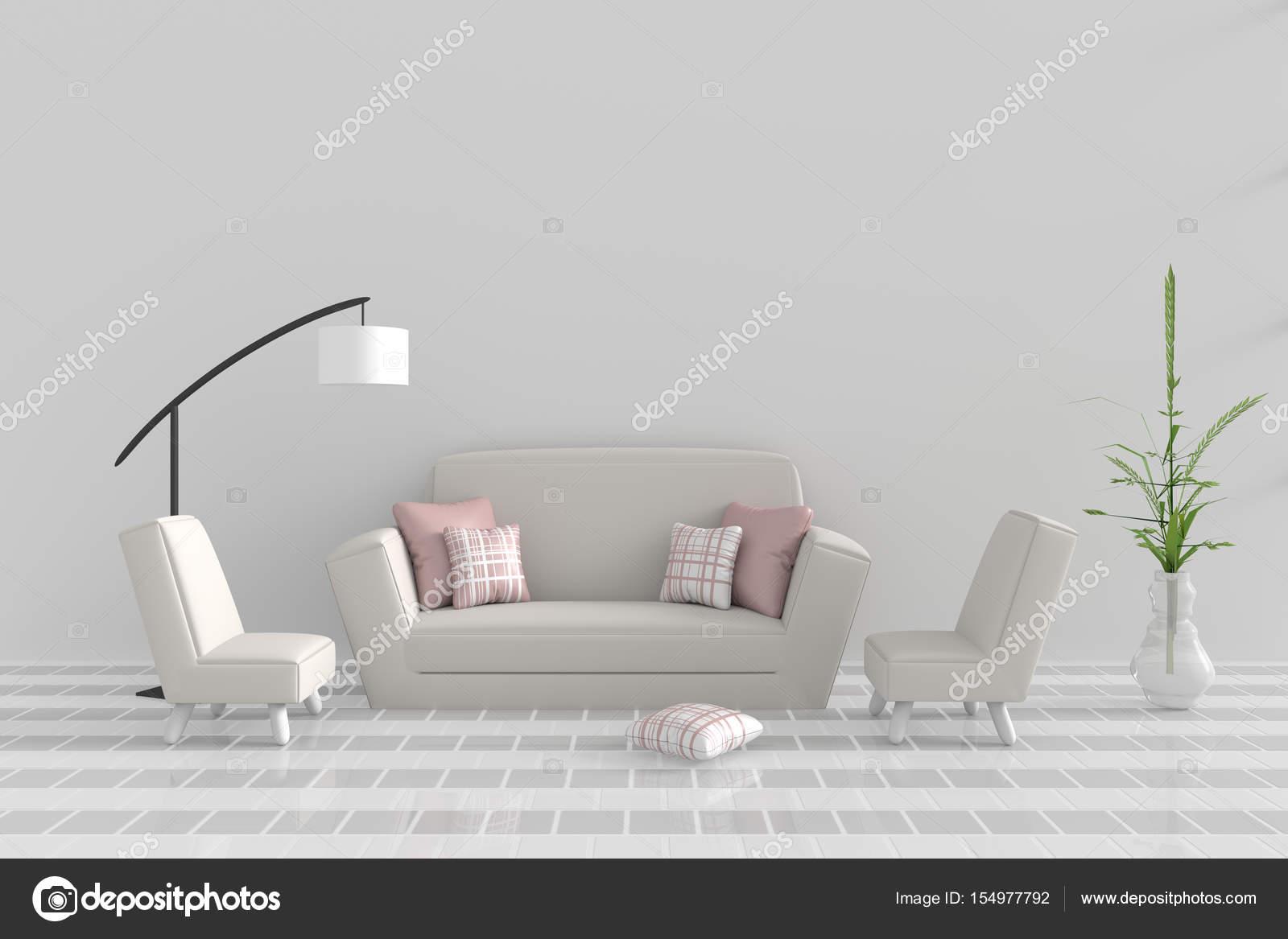 Wohnzimmer In Verwöhntag. Dekor Mit Sofa, Zwei Sessel, Rosa Weißen Kissen,  Weiße Lampe, Baum In Vase, Raster Zement Wand Und Fliesen Boden.