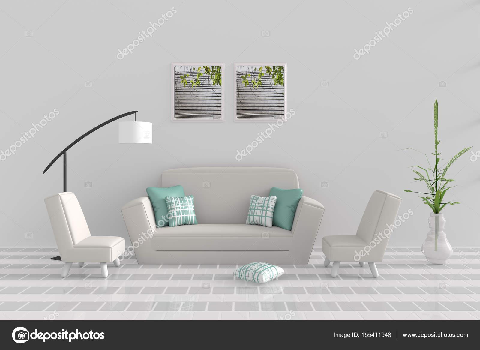 Woonkamer in ontspannen dag. Decor met sofa, twee leunstoel, groen ...