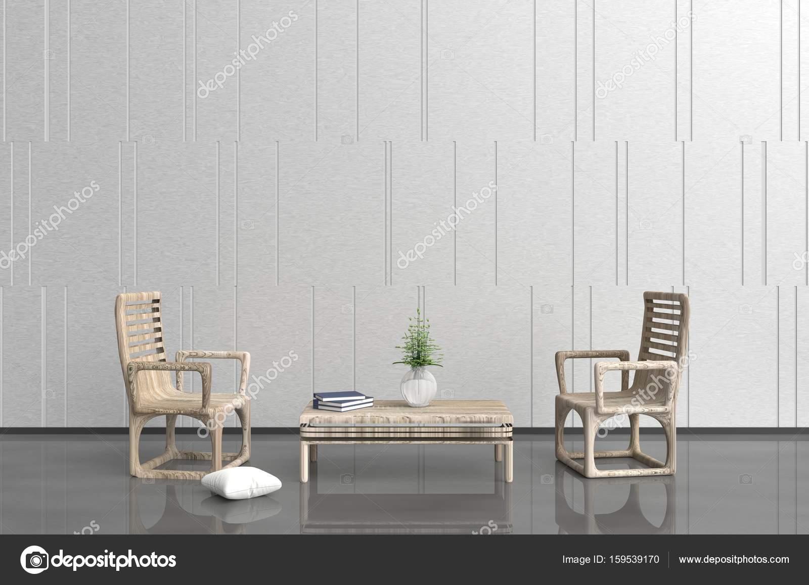 Wit-grijs woonkamer zijn ingericht met houten fauteuil en tafel ...