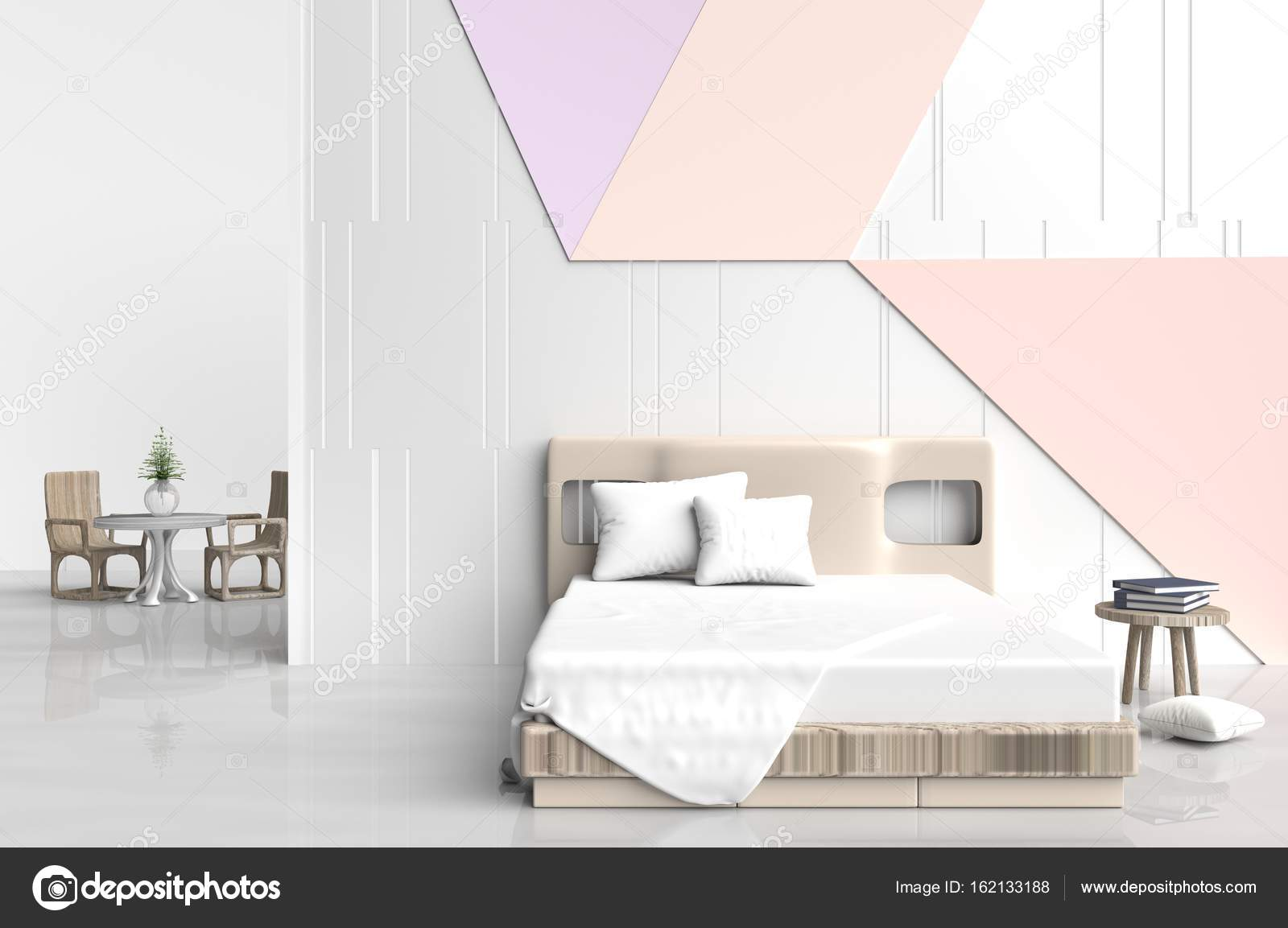 Chambre à coucher couleur pastel est sont décorées avec grand lit ...
